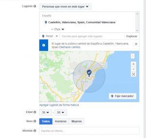 Ubicación público objetivo en Facebook Ads